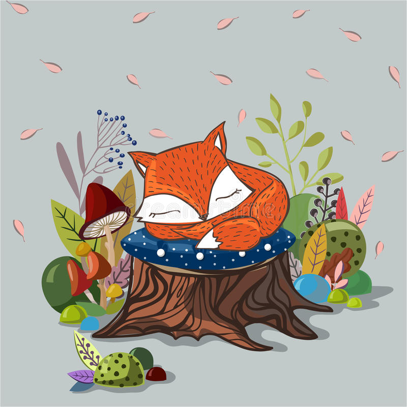 Free Vector Illustration With Slipping Baby Fox Royalty Free Stock Photo - 65598115