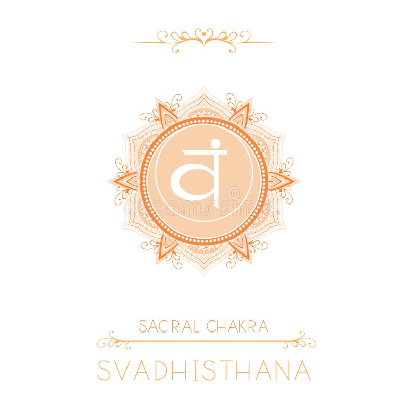 Free Vector Illustration With Symbol Svadhishana - Sacral Chakra And Decorative Elements On White Background Stock Photography - 142839222