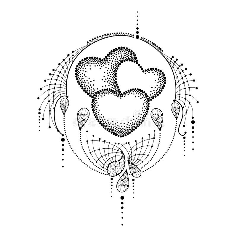 Free Vector Illustration With Three Dotted Heart And Ornate Lace In Black Isolated On White Background. Dotwork Design Elements. Royalty Free Stock Photo - 85435785