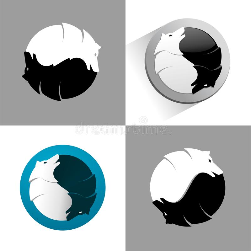 Wolf yin yang icon stock illustration