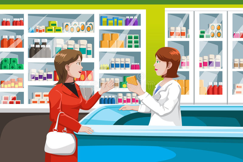 Buying medicine in pharmacy royalty free illustration