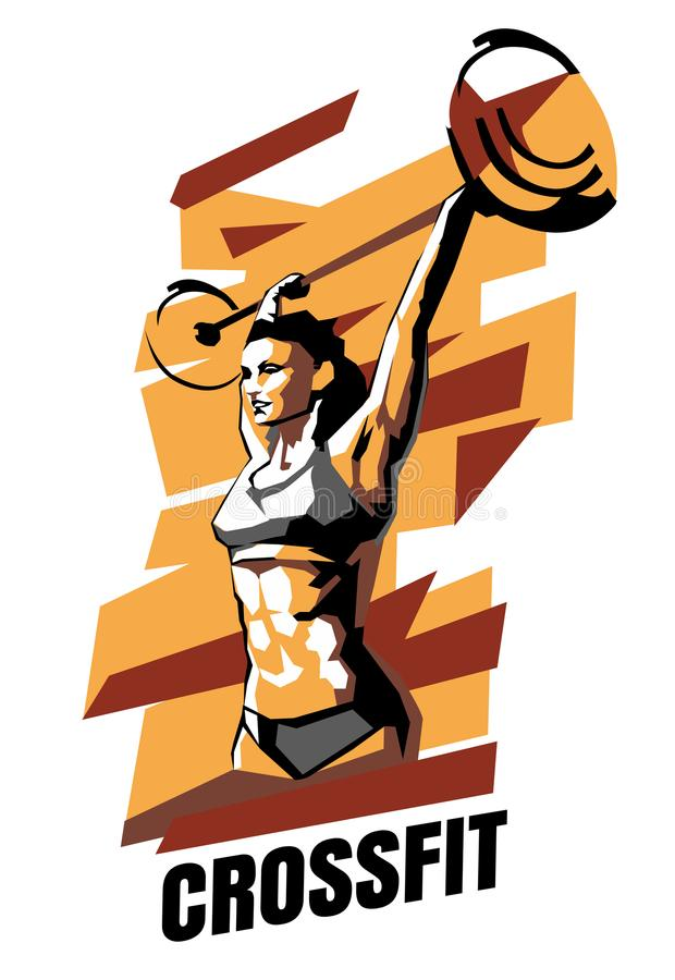 Vector illustration of woman CrossFit on an abstract background. CrossFit poster stock illustration
