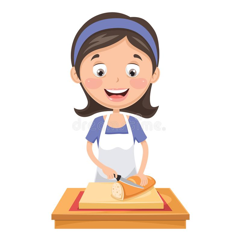 Vector Illustration Of Woman Cutting Bread. Eps 10 vector illustration