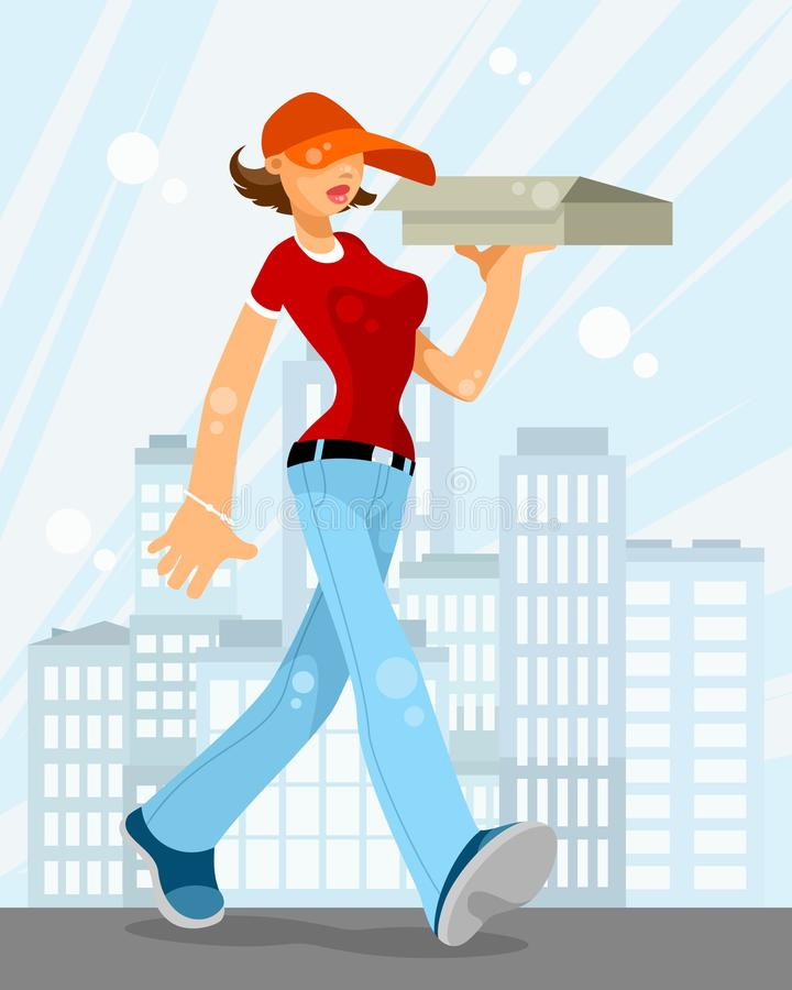 Woman delivering food stock illustration