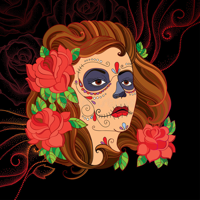 Vector illustration of woman face with Sugar skull or Calavera Catrina makeup on the black background with dotted red swirls. Design for Mexican Day of the stock illustration