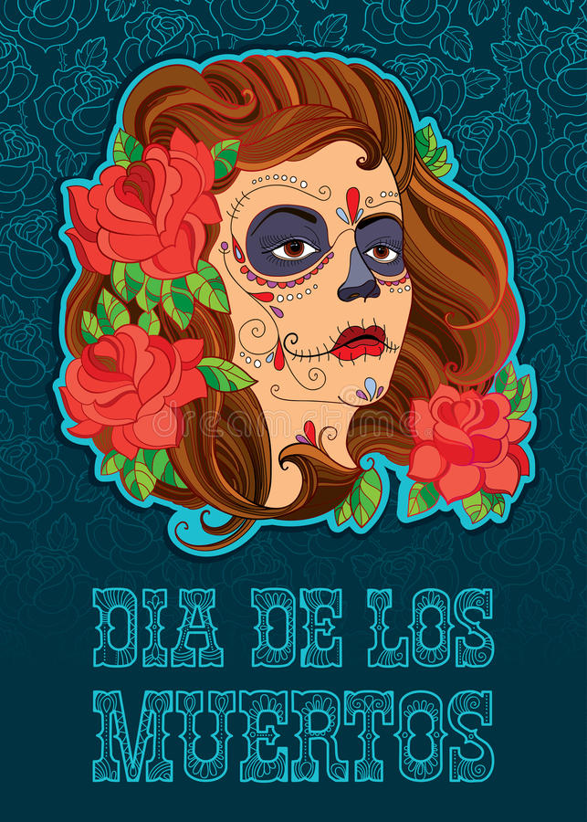 Vector illustration of woman face with Sugar skull or Calavera Catrina makeup on the turquoise background with outline roses. Design for Mexican Day of the royalty free illustration