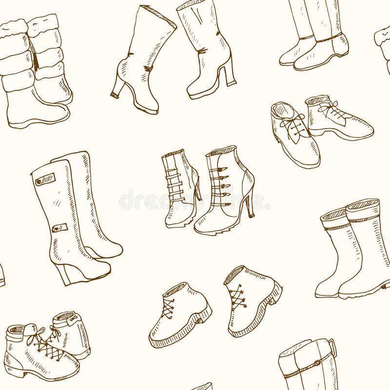 Vector illustration of woman fall and winter shoes, boots set. seamless pattern royalty free illustration