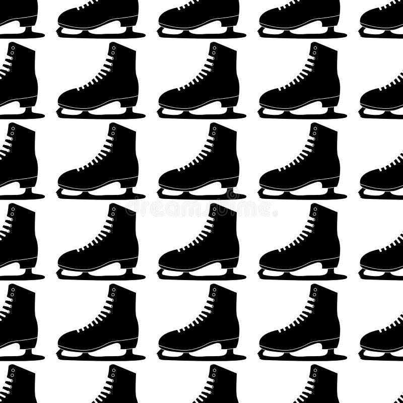 Vector illustration. Woman figure Skates icon isolated on white background. Seamless skates pattern vector illustration