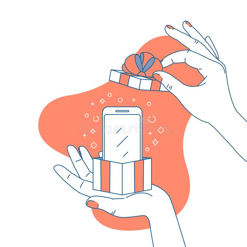 Woman hand holding a gift box with smartphone. Surprise illustration. Shopping. Vector illustration stock illustration