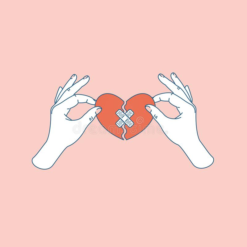 Woman hand holding repaired broken heart. Fixed broken heart. Vector illustration stock illustration