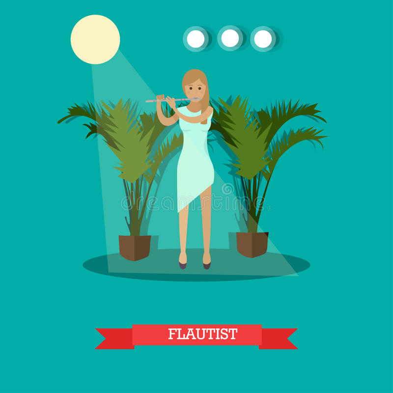 Vector illustration of woman playing flute in flat style. Vector illustration of musician flutist playing a flute woodwind musical instrument. Young woman stock illustration