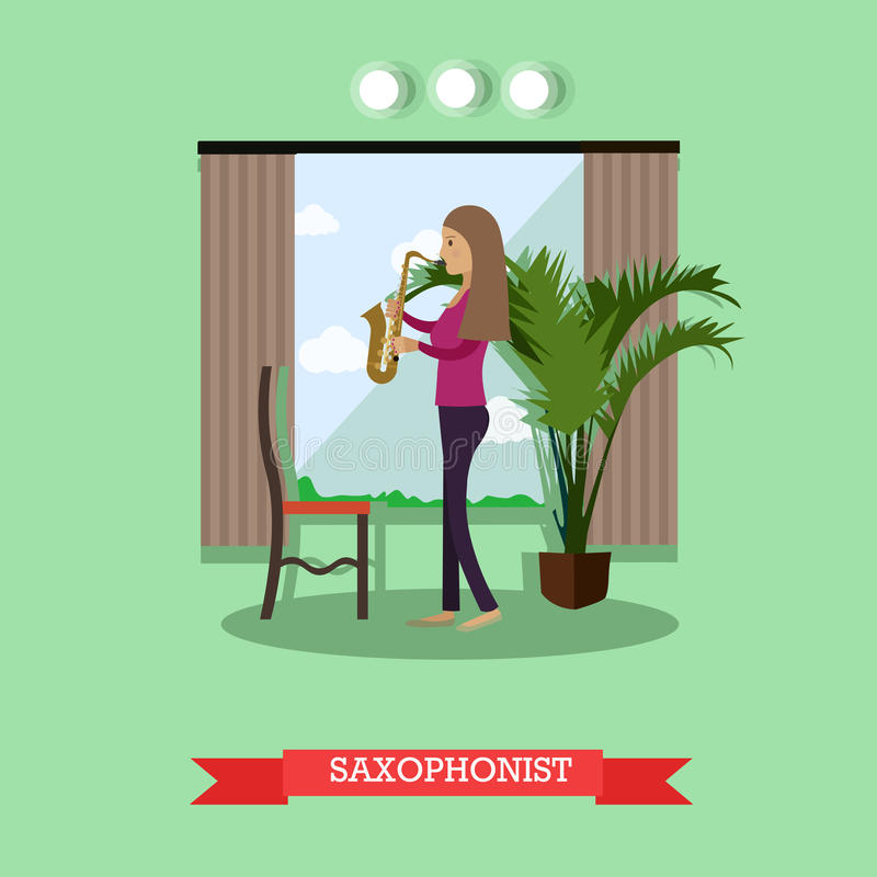 Vector illustration of woman playing saxophone in flat style. Vector illustration of musician female playing saxophone wind musical instrument. Saxophonist flat royalty free illustration