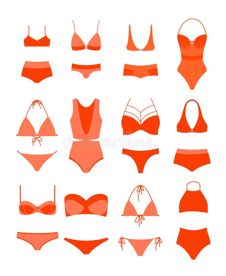 Vector illustration of woman summer bikini set. Female underwear, women s swimming suits in different design types, red vector illustration