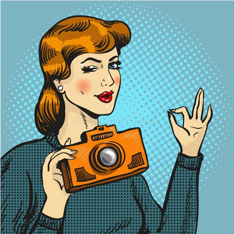 Vector illustration of woman taking photo in pop art style. vector illustration