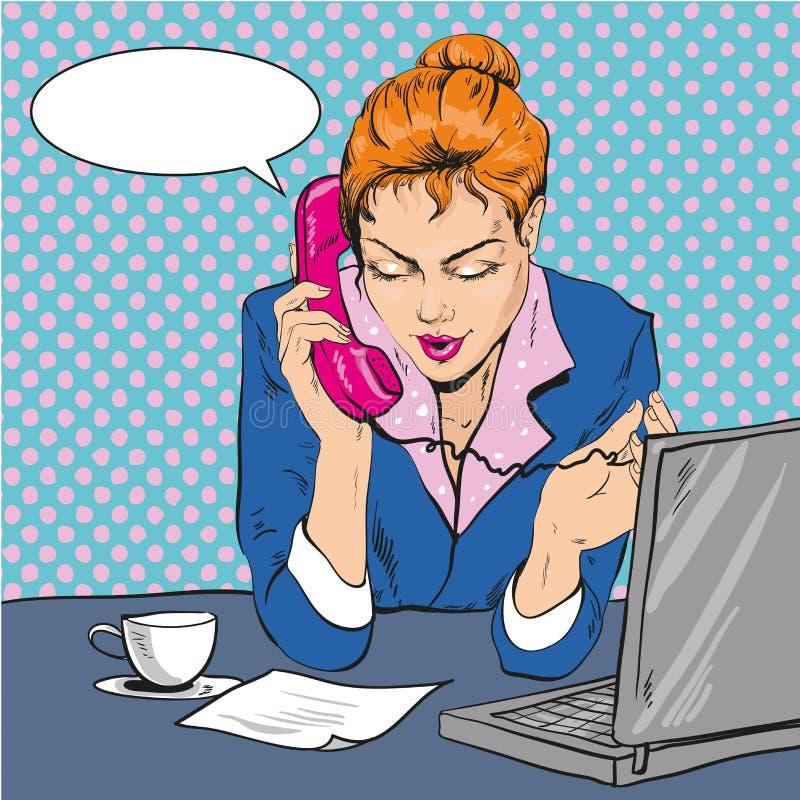 Vector Illustration of woman talking over the phone, pop art stock illustration