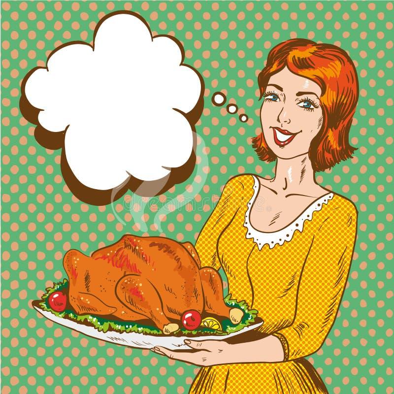 Vector illustration of woman with thanksgiving turkey, pop art style. vector illustration