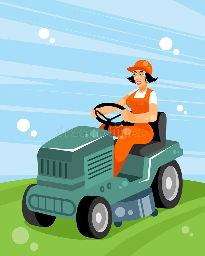 Woman on a tractor. Vector illustration of a woman on a tractor vector illustration