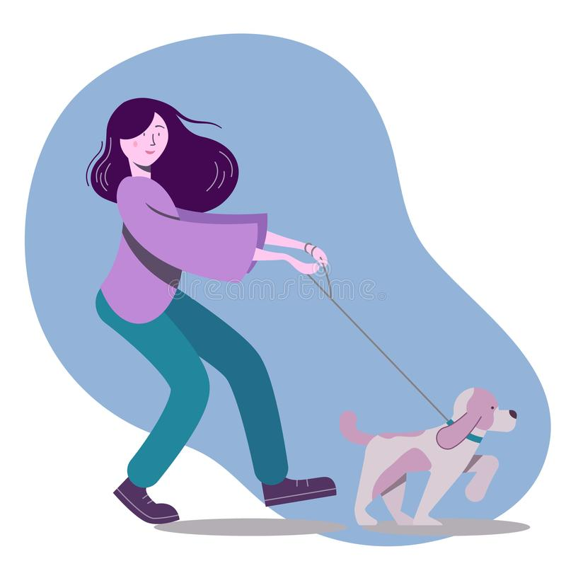 Vector illustration with woman walking the dog stock illustration