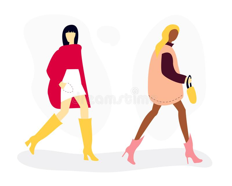 Vector illustration of women in autumn fashion clothes royalty free illustration