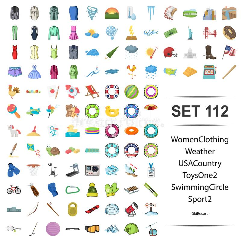 Vector illustration of women, clothing, weather, USA, country, toy swimming circle sport icon set. royalty free illustration