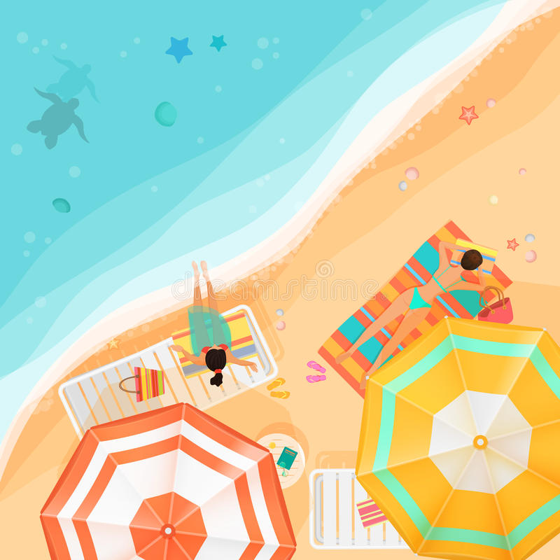Vector illustration of women lying and relaxing on the beach near the ocean from above. Summer beach top view. vector illustration