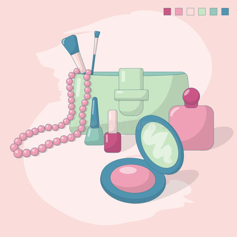 Vector illustration of women`s accessories and cosmetics: nail polishes, blush, makeup brushes, parfums, handbag and stock illustration