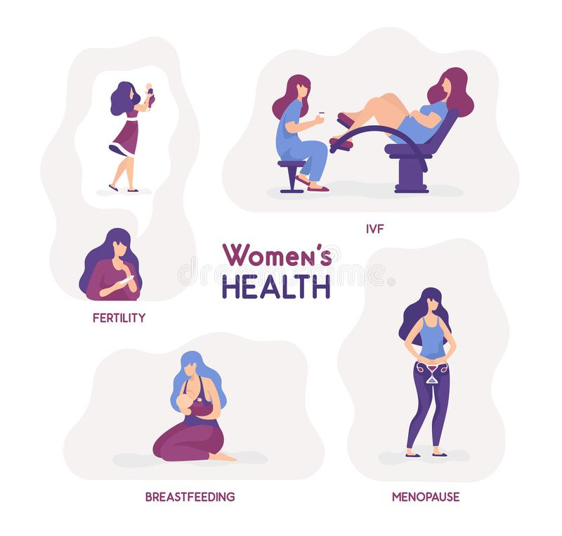 Vector illustration women s health. Fertility, ivf, breastfeeding stock illustration