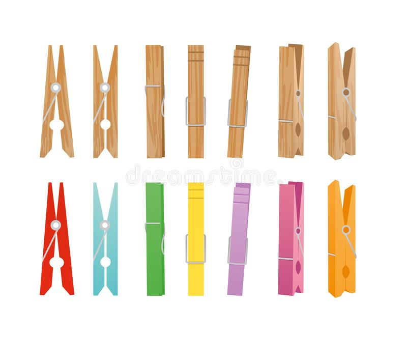 Vector illustration of wooden and clothespin collection on white background. Clothespins in different bright colors and royalty free illustration