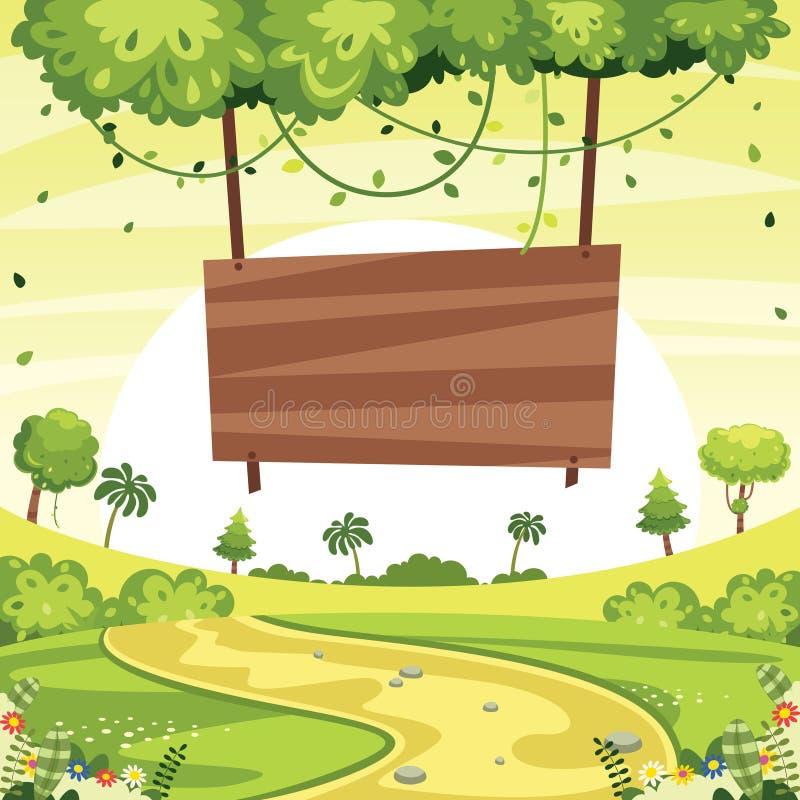 Vector Illustration Of Wooden Signboard And Green Landscape. Eps 10 royalty free illustration