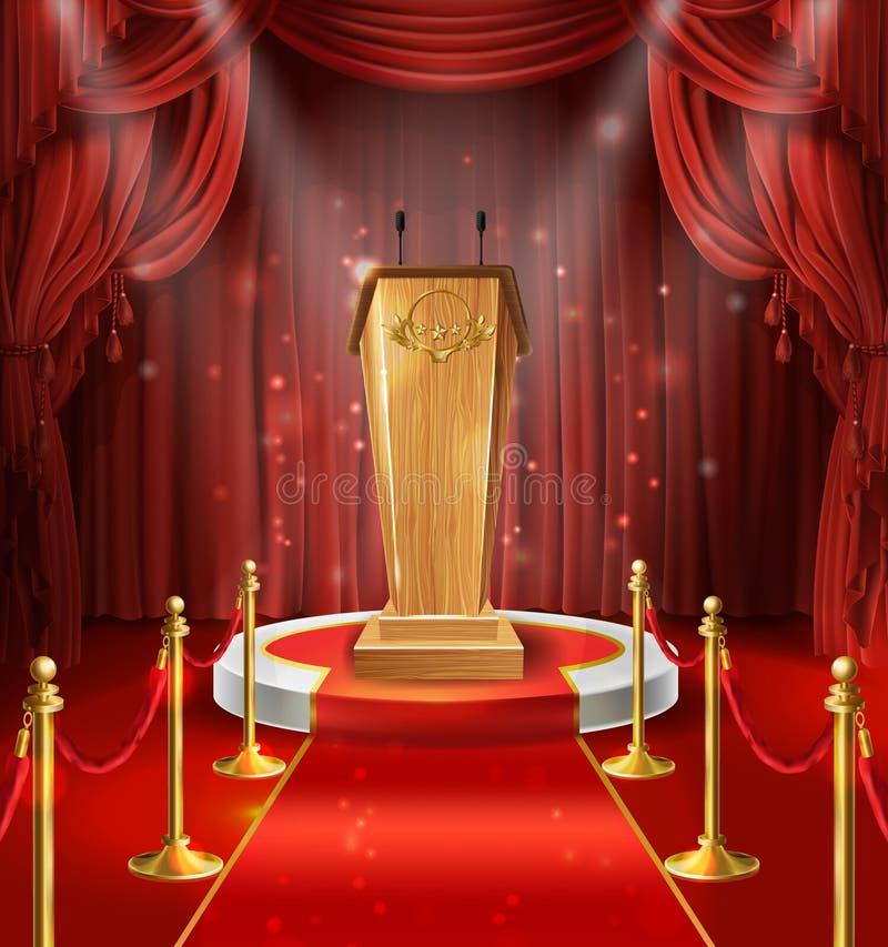 Vector wooden tribune, microphones, podium, red curtains vector illustration