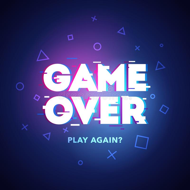 Vector Illustration word Game Over - Play Again in cyber noise glitch design. For games, banner, web pages. Three color half-shift royalty free illustration