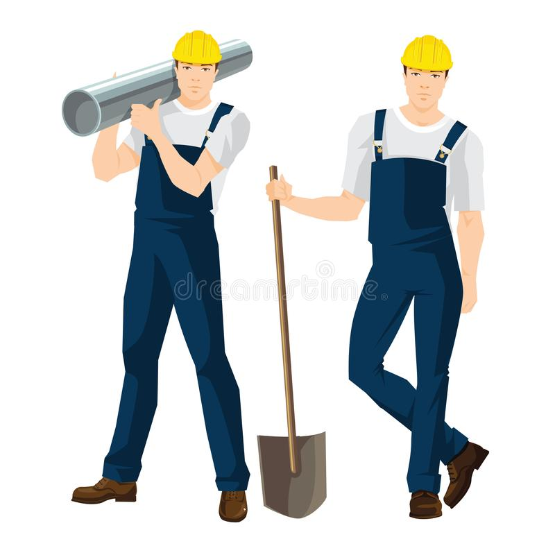 Vector illustration of worker in overalls and protective helmet. Isolated on white background. Workers with shovel and pipe vector illustration