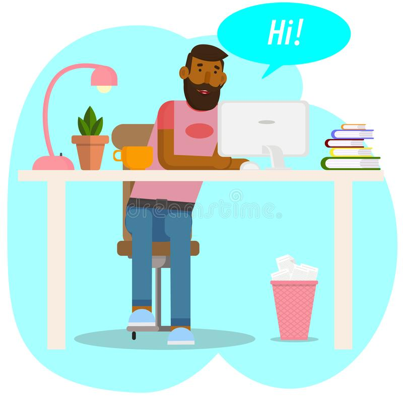 Vector drawing. Workspace concept. Hipster works at for computer. The young man communicates in social networks. Businessman, stock illustration