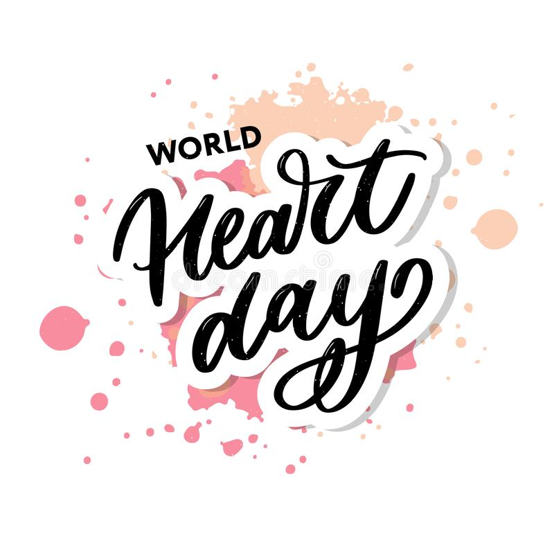 Vector illustration for World Heart Day lettering calligraphy royalty free illustration