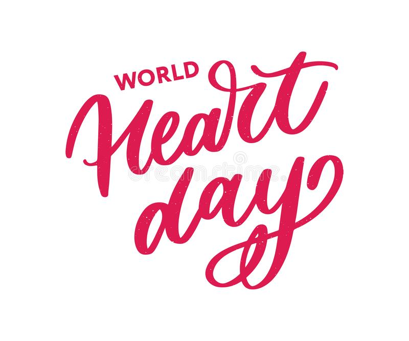 Vector illustration for World Heart Day lettering calligraphy. Vector illustration for World Heart Day lettering, health, cardiology, background, disease stock illustration