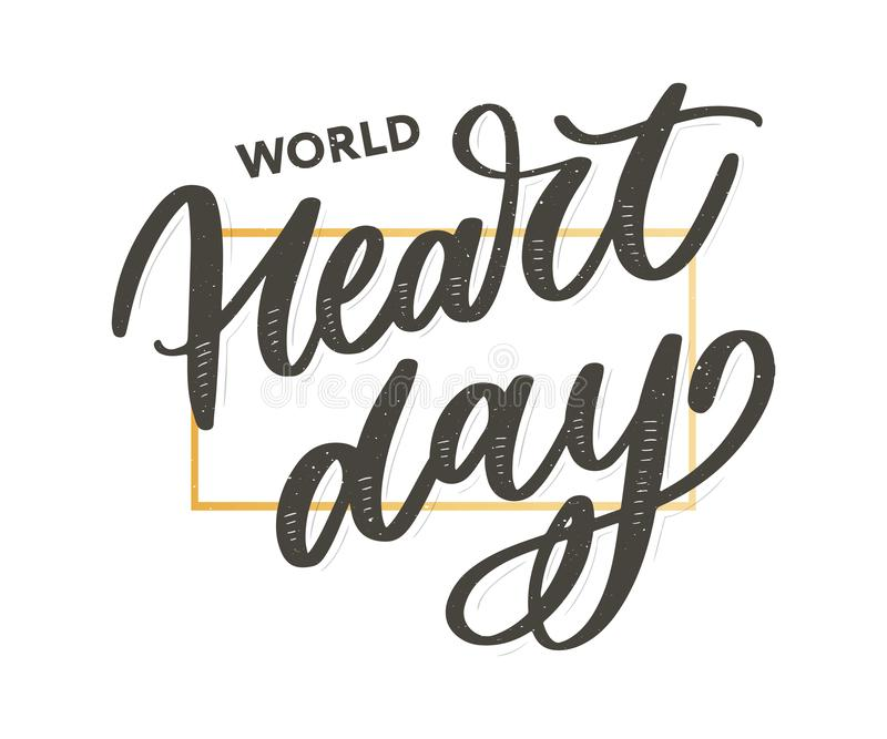 Vector illustration for World Heart Day lettering calligraphy. Vector illustration for World Heart Day lettering, health, cardiology, background, disease royalty free illustration