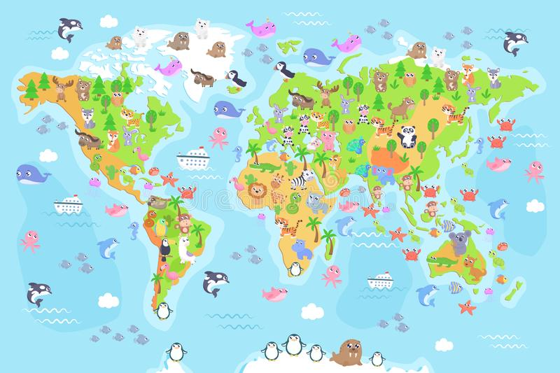 Vector illustration of world map with animals for kids. royalty free illustration