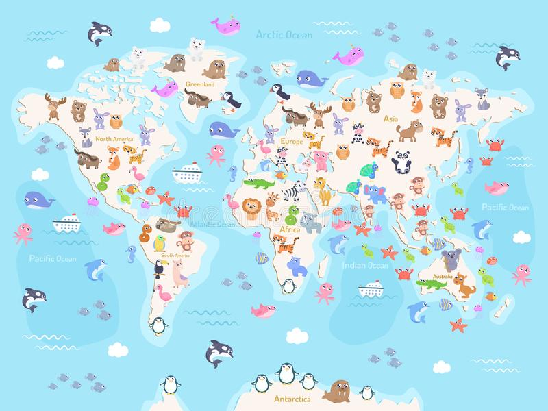 Vector illustration of world map with animals for kids. Flat design royalty free illustration