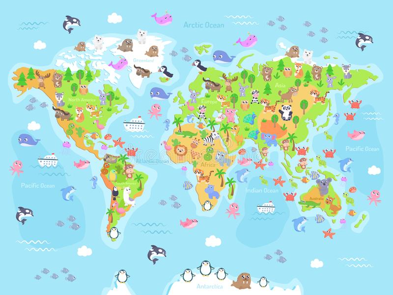 Vector illustration of world map with animals for kids. Flat design vector illustration