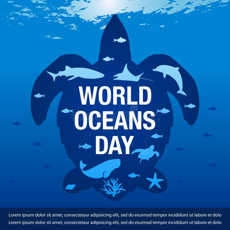 Vector Illustration for  world ocean day banner. Vector Illustration of sea fishes in turtle silhouette for world ocean day banner vector illustration