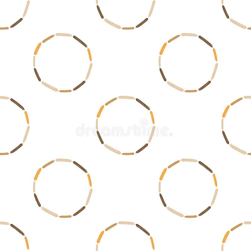 Vector illustration of a wreath made of wheat or barley spikelets isolated on a white background. Seamless wreath pattern stock illustration