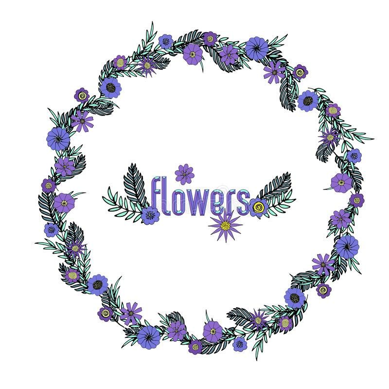 Purple floral wreath. Vector illustration wreath with purple and violet flowers, aqua and dark green leaves. Hand-drawn floral frame template for greeting cards royalty free illustration