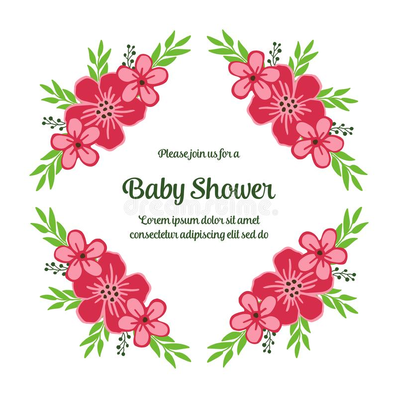 Vector illustration writing baby shower with beautiful pink wreath frame. Hand drawn vector illustration