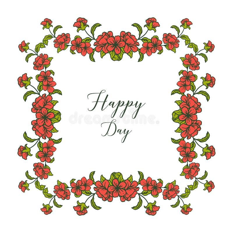 Vector illustration writing happy day with floral frame royalty free stock photography