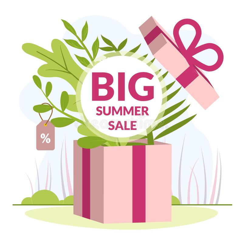 Vector Illustration is Written Big Summer Sale. Favorable Conditions for  Acquisition Goods on Sale. Closeup Big Gift Box. Layout Color Paper Card. Nice vector illustration