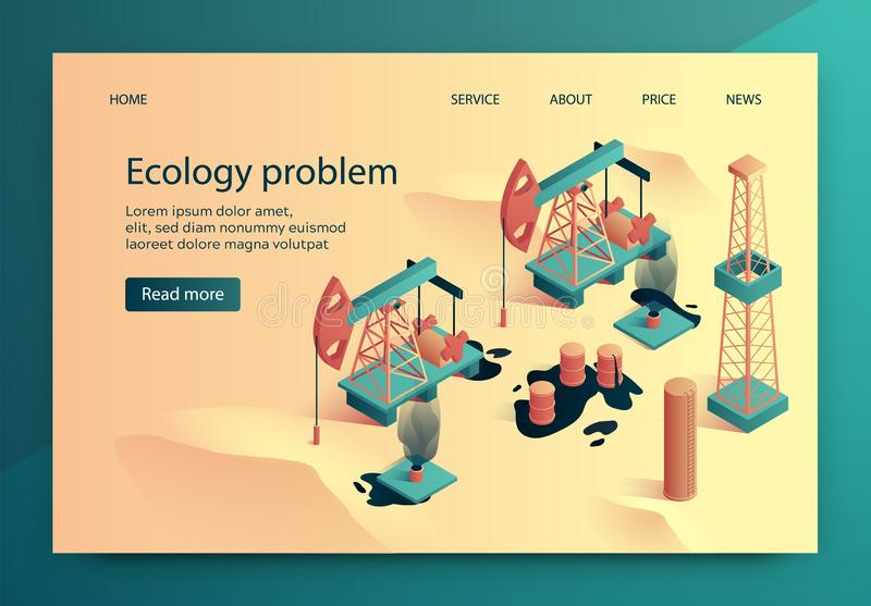 Vector Illustration is Written Ecology Problem. Construction and Installation Oil Wells Affects Ecology Region. Oil Spill near Oil Production Structure. Banner royalty free illustration