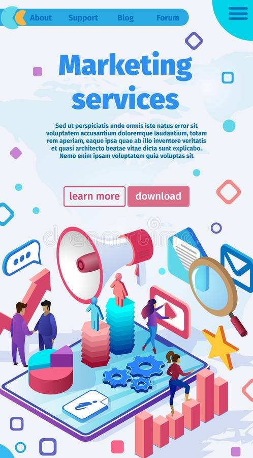 Vector Illustration is Written Marketing Services. Scientific Discipline Studying Features Marketing Activities Organizations Involved Provision Services. Flat royalty free illustration