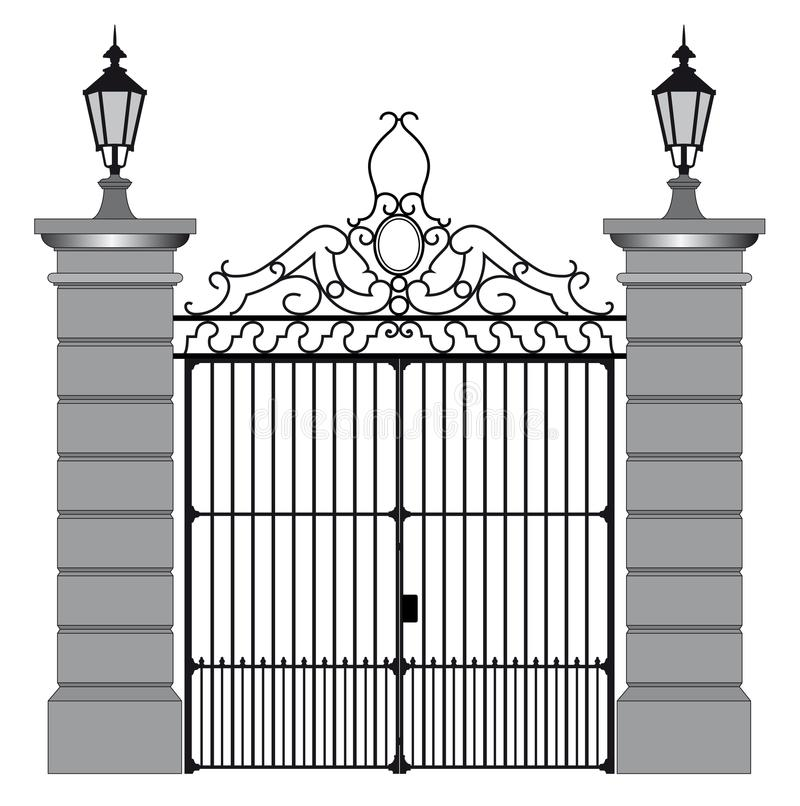 Vector illustration of a wrought iron gate.  royalty free illustration
