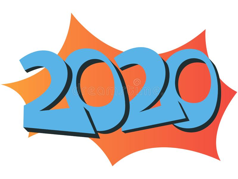 Vector illustration of a 2020 year`s wall calendar in a warm colors stock photo