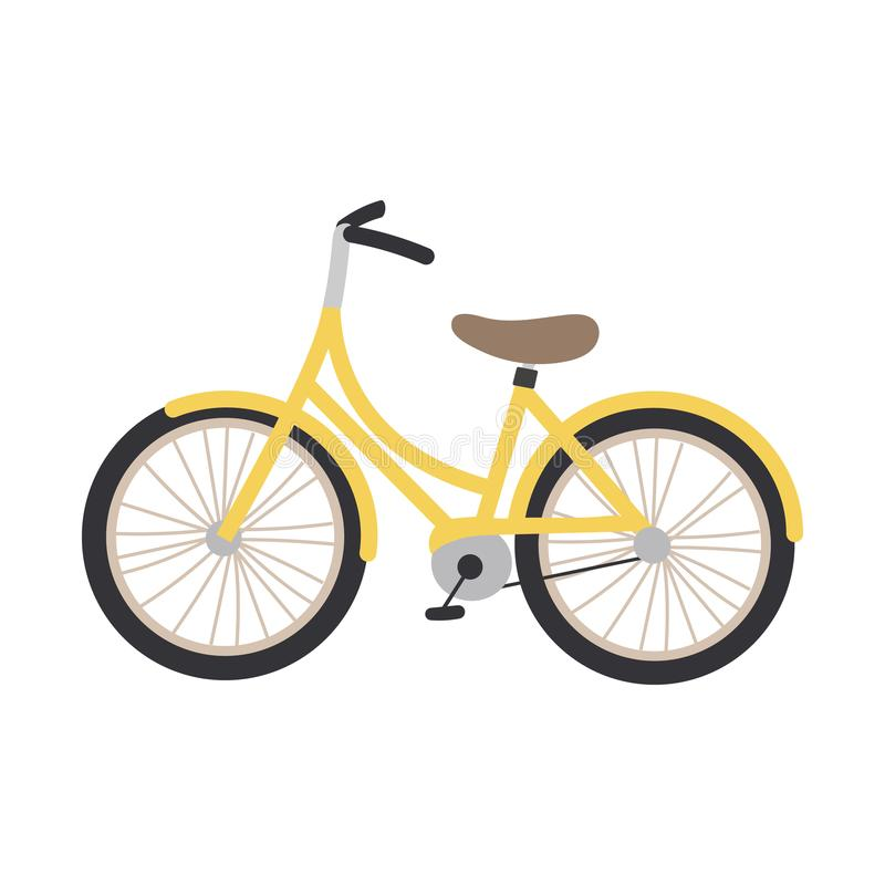 Vector illustration of a yellow bicycle stock illustration